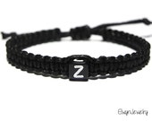Black Men's Bracelet, Name Bracelet, Initial Bracelet, Personalized Bracelet, Black Bracelet, Cord Bracelet, Name Bracelet, Boy Bracelet