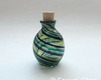 Mini Bottle with Cork- Purple White Green stripe : DISASTER RELIEF