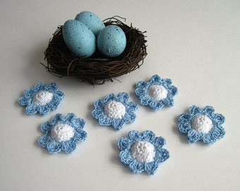 6 Thread Crochet Flowers - Cone Centers with Pedals - Baby Blue and White (Set of 6)
