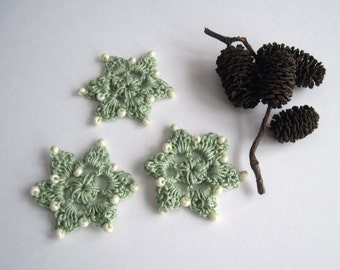 3 Crochet Beaded Flowers Mini - Sage Green with Creamy Winter White Glass Beads - Set of 3