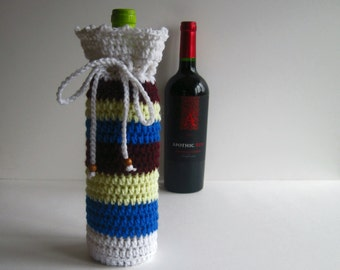 Wine Bottle Cover Crochet Cozy Gift Wrap - Wine, Blue, Yellow and White with Wood Beads