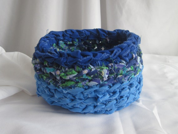 Crochet Basket Bowl - Shabby Chic Fabric in Blue and Purple