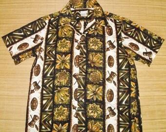 Mens Vintage 60's Hawaiian Tiki Tribal Shirt - XL -  The Hana Shirt Co