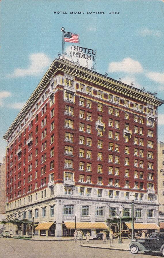 hotel miami dayton ohio vintage linen postcard unused. Black Bedroom Furniture Sets. Home Design Ideas