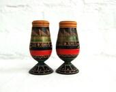 Mexican Salt and Pepper Shakers Black Hand Carved Souvenir Primitive Tribal Vintage Christmas