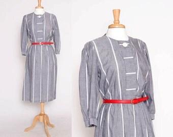 Vintage 80s Grey Stripe Dress / Housewife Dress /  S M