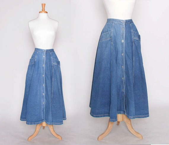Vintage 80s 90s Flowy Denim Skirt / Long Skirt / Maxi Skirt /