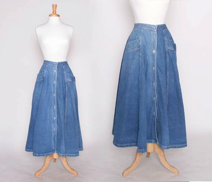 Vintage 80s 90s Flowy Denim Skirt / Long Skirt / Maxi Skirt /