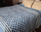 SALE Vintage Chenille Checkerboard Bedspread in Blue & White