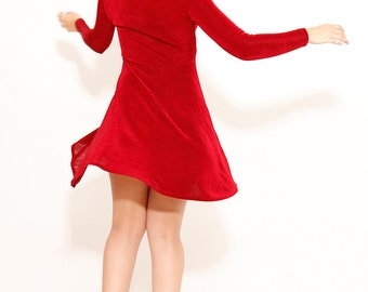 Vintage 90s Red Dress Body Con Maroon Fitted Long Sleeve Mini Dress Made in USA Small - R3-69