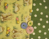"14"" x 14"" PILLOW COVER -  Cheerful Easter Bunny Polka Dot Garden with Pastel Eggs"