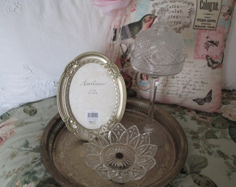 Silverplate tray 5 piece shabby vignette elegant dresser set glass petal dish cloche and glass stand oval frame gallery silver plate tray