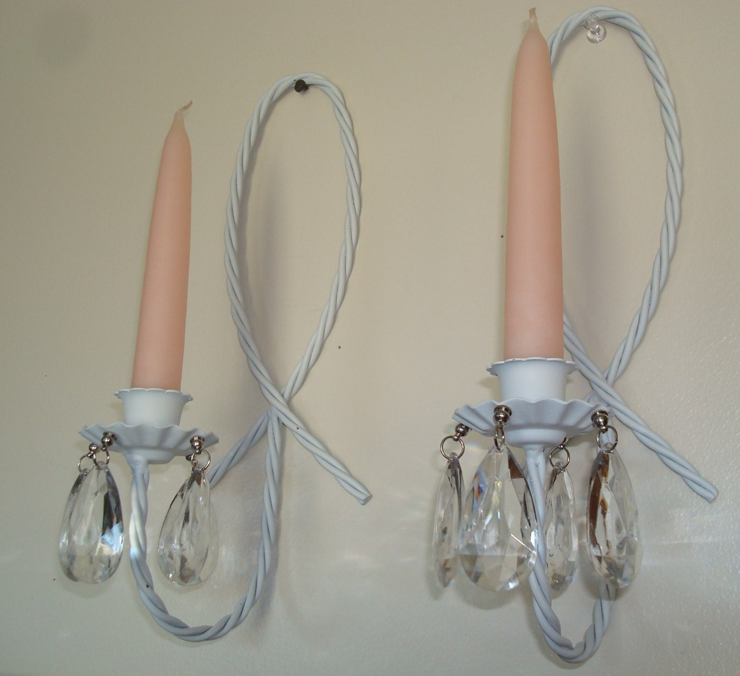 Metal wall sconces white taper candle holders acrylic crystals