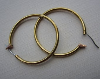 Vintage Raw Brass Hoop Earrings With Patina 31mm 6Prs.