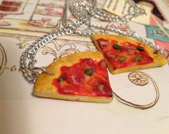 Pizza Friendship Necklaces- Food Jewelry- Polymer Clay