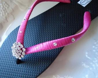 Hot pink Flip Flops. Bridal black-hot pink flip flops w/ Swarovski Crystals. Wedding Black flip flops. Bridal Party --BELLA--Black-hot pink