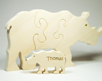 Rhinoceros Puzzle Wood Baby Rhino Eco Friendly and Green for Toddlers and Children