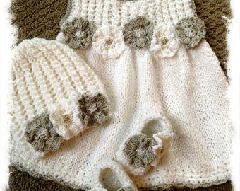 baby girl knitted set,dress,shoes,hat