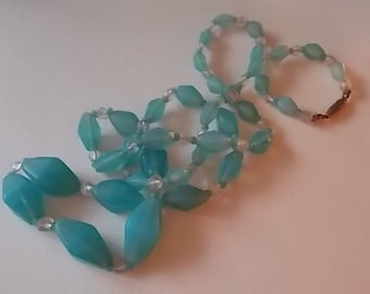 Vintage Matt Baby Blue Glass Carved Beads Necklace-Pretty