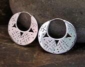 Tribal Disc Silver Earrings