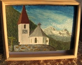 Framed Painting of a Church Clock Tower and Mountains