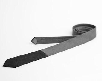 Skinny grey black tie