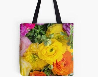 Ranunculus Fine Art Photo Canvas Tote Bag, Book Bag, Market Bag, Reusable Grocery Bag, Shopping Bag, Gifts for Her, Canvas Tote