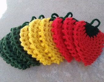 3 SET OF Strawberry Crocheted Dishcloths/  Dish Scrubbies  Red, Yellow, Green,Beige (Total 9 Strawberrys)