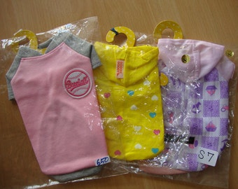 SMALL Set of 3 Puppy clothes ,Small dog clothes, Shirts Buy 2 packages (any size)  get 1 package (any size)  Free. NO. S7