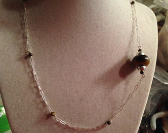 Brown Necklace - Sterling Silver Jewelry - Tiger Eye Gemstone Jewellery - Fashion - Chain - Chic
