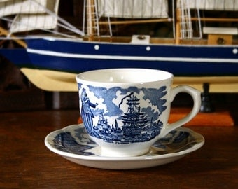English teacup, Staffordshire Fair Winds teacup set Alfred Meakin cup and saucer, blue transferware