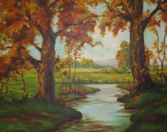 Large Vintage Original Framed Signed Oil Painting-Landscape-Trees-Forest-Nature-Stream