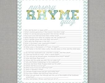Nursery Rhyme Quiz - Baby Shower Game - Blue Map Chevron
