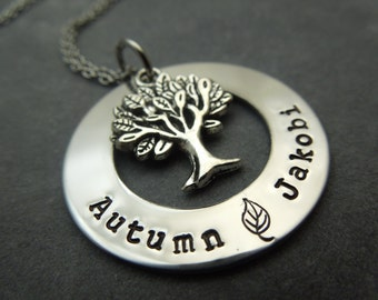 Family tree hand stamped stainless steel mother / grandmother necklace