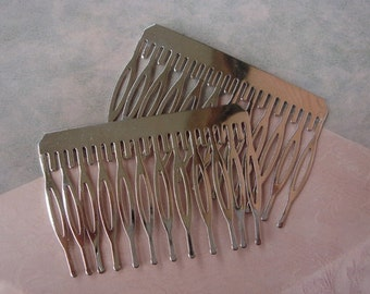 10 Pcs Silver Plated Hair Comb w/12 Pins .NICKEL FREE