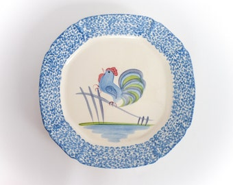 Cottage Style Blue Rooster Platter by Designcraft