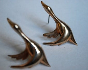 Two Sterling Silver GKCO Geese in Flight Brooches