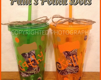 Personalized Acrylic REDNECK CHRISTMAS TUMBLER with Camo Stocking on Orange, Green, Hot Pink, or Clear with Name or Initial