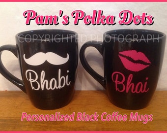 Personalized BLACK COFFEE MUGS Cups with Mustache for Him Lip Kiss for Her Great Wedding Anniversary or Anytime Gift