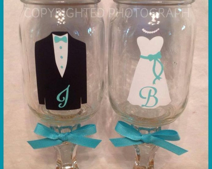 Personalized Bride & Groom REDNECK WINE GLASS with tuxedo for him dress for her name wedding reception toast glasses