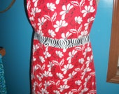 Ginny Apron - Retro Red and Black Flowers - Ready to ship