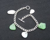 Seaglass Charm Bracelet From the Rugged Shores of Scotland. Scottish Seaglass bracelet.