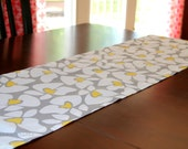 Floral Table Runner, Storm Grey and Yellow Helen, Wedding Table Topper, Dinner Event, Grey Table Square, Dining Room Table Cloth