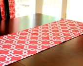 Coral Table Runner- Premier Prints Coral Gotcha Chainlink Dinner Party- Wedding Reception Holiday Shower Decor- Buffet Table- Dresser-