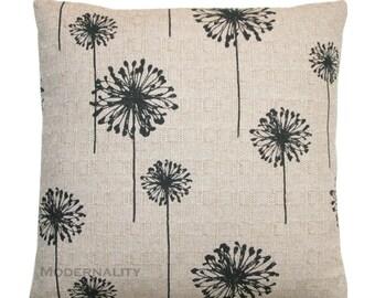 Floral Pillow, Beige Black Dandelion Pillow Cover, Decorative Throw Pillow, Burlap Pillow, Flower Pillow, Zippered Cushion, Black Pillow