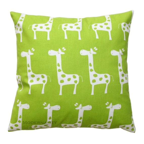 Childrens Pillow, Green Giraffe Pillow Cover, Stretch Chartreuse Pillow, Zippered Pillow, Nursery Decor, Crib Bedding, Green Pillow Case