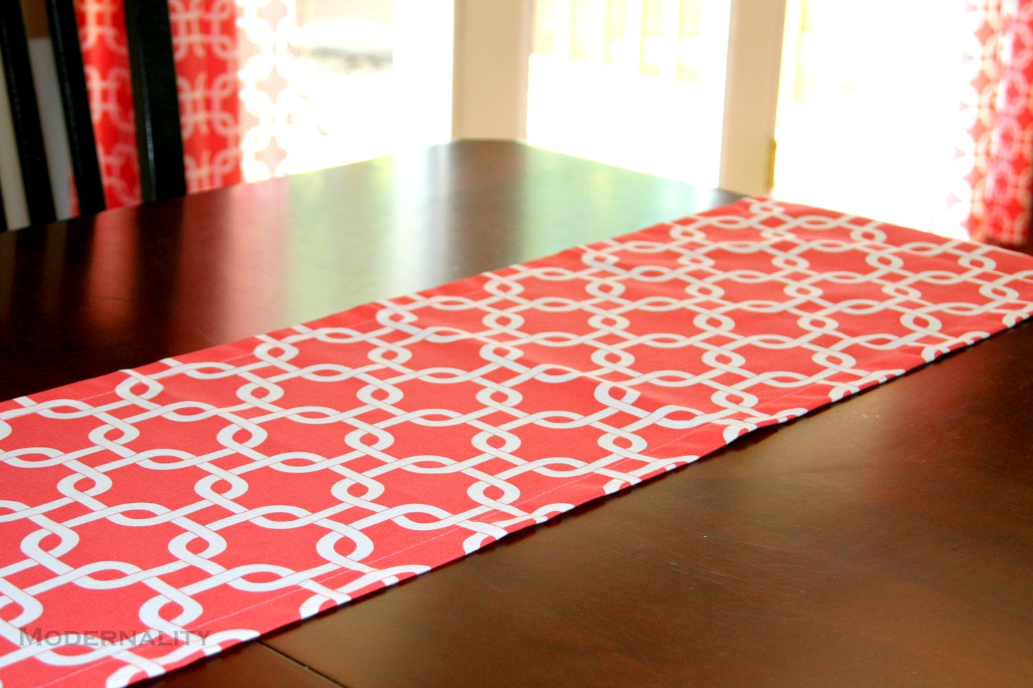 Lattice Table Runner Coral Gotcha by ModernalityHomeDecor ...