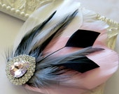 Bride Bridesmaid Feather Hair Accessory, Feather Fascinator, Bridal, Hair PIece,Grey, Blush Pink, Black, White, Feather, Hair Clip