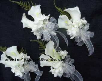 2, 3, 4 piece set. Prom corsage & boutonniere. REAL TOUCH CALLA Lily Mother of the Bride Groom Wedding Corsage. White Ivory Lilies.
