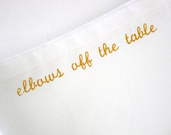 Metallic Gold Manners and Etiquette Cloth Napkins Mind Your Manners set of 8 napkins